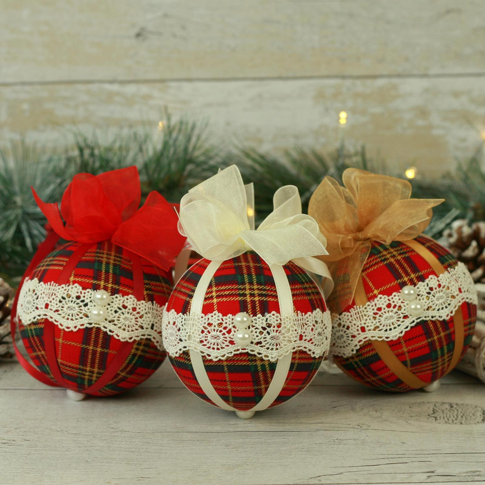 Traditional red tartan fabric Christmas baubles (3)