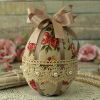 <!-- 006 -->Taupe Fabric Easter Egg Gift