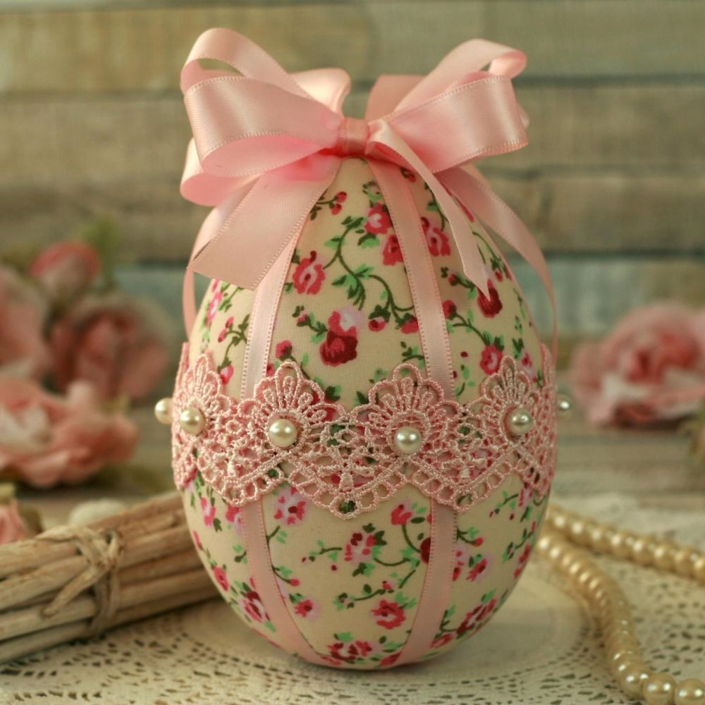 <!-- 002 -->Shabby Chic Pink Easter Egg Decoration
