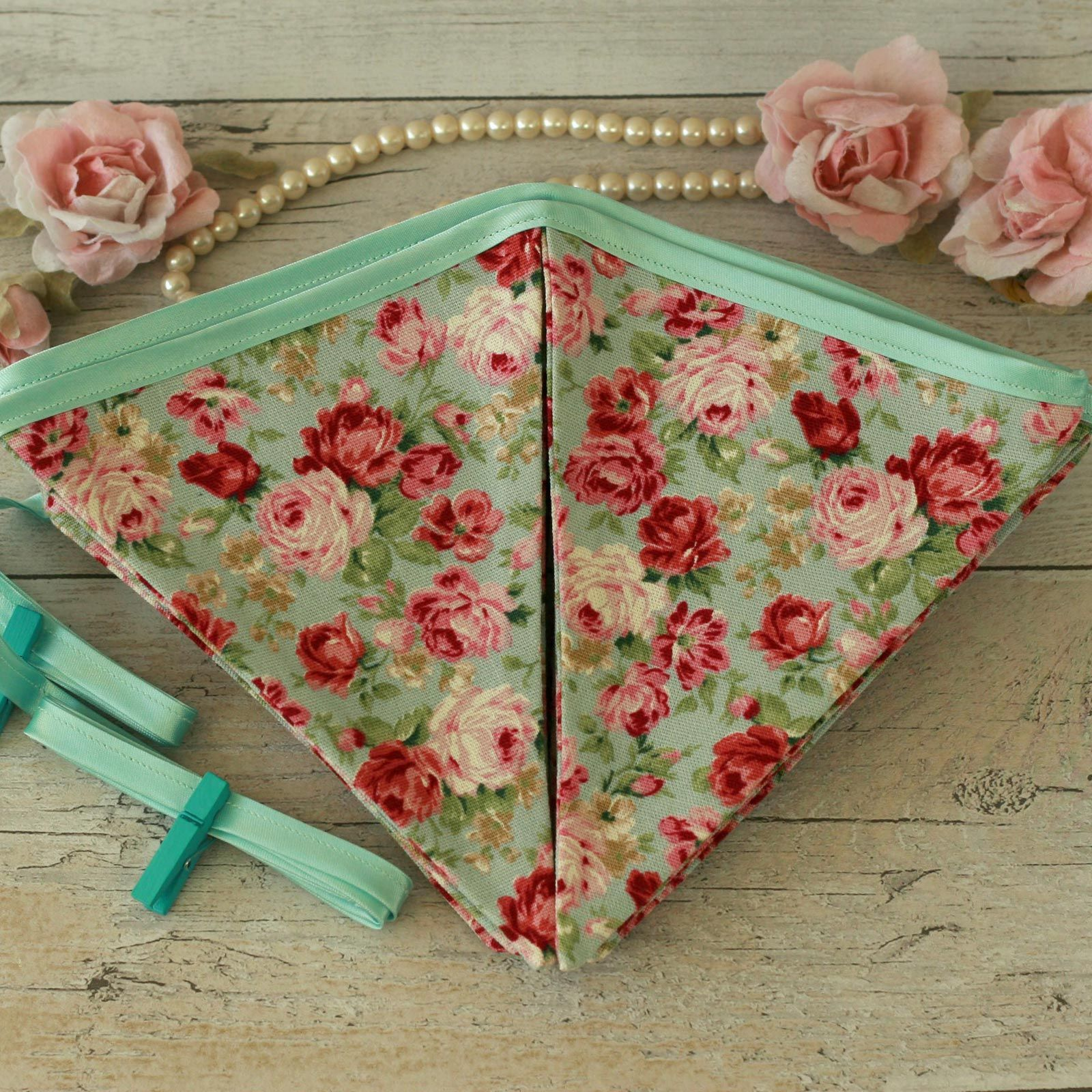 Shabby chic bunting mint fabric flags