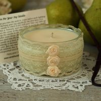 <!-- 002 -->Hand Poured Soy Candle: Lace Anniversary Candle Gift