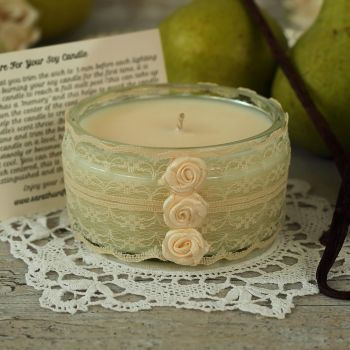 Hand Poured Soy Candle: Lace Anniversary Candle Gift