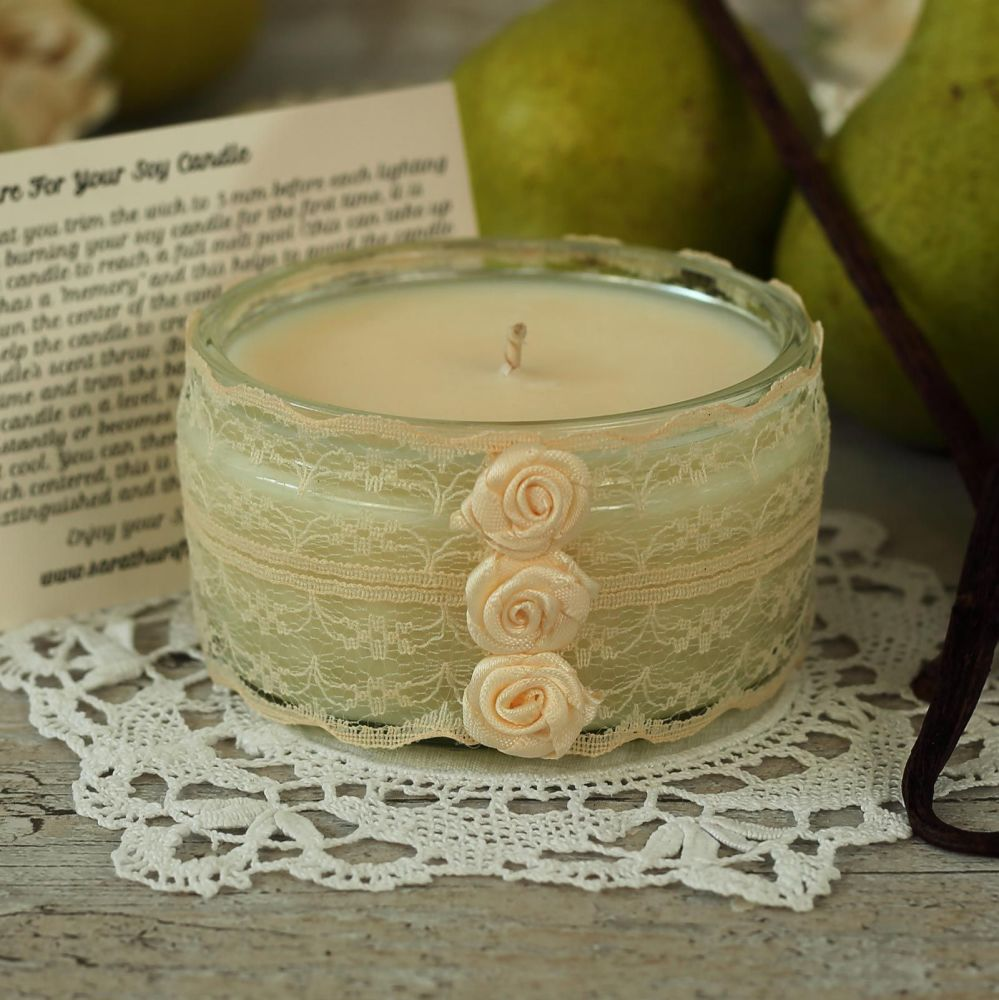 <!-- 012 -->Hand Poured Soy Candle: Lace Anniversary Candle Gift