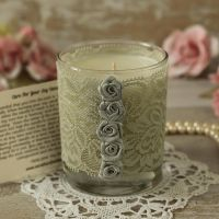 <!-- 008 -->Silver Lace Candle: 25th Anniversary Candle Gift