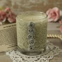 <!-- 007 -->Silver Lace Candle: 25th Anniversary Candle Gift