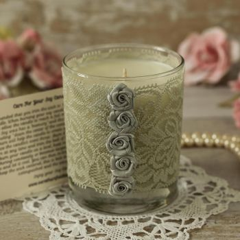 Silver Lace Candle: 25th Anniversary Candle Gift