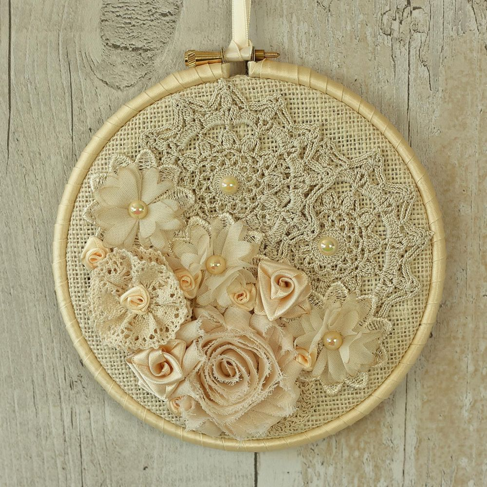 Floral Wall Art: Fabric Hanging Hoop