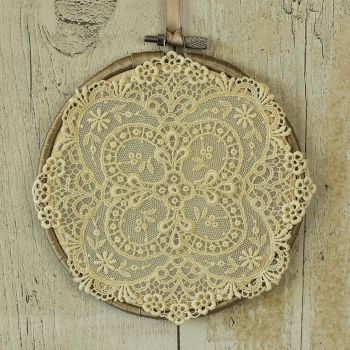 Fabric Hanging Hoop: Farmhouse Wall Decor