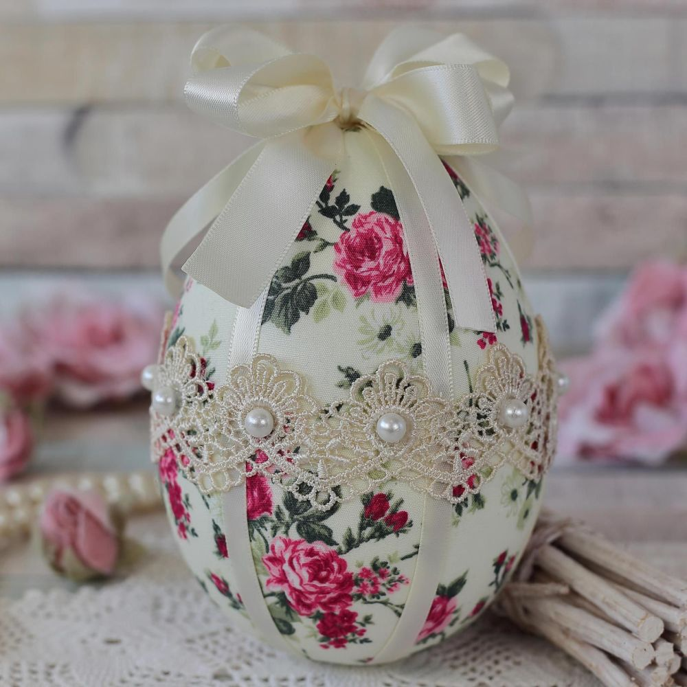 <!-- 013 -->Ivory Fabric Easter Egg Gift