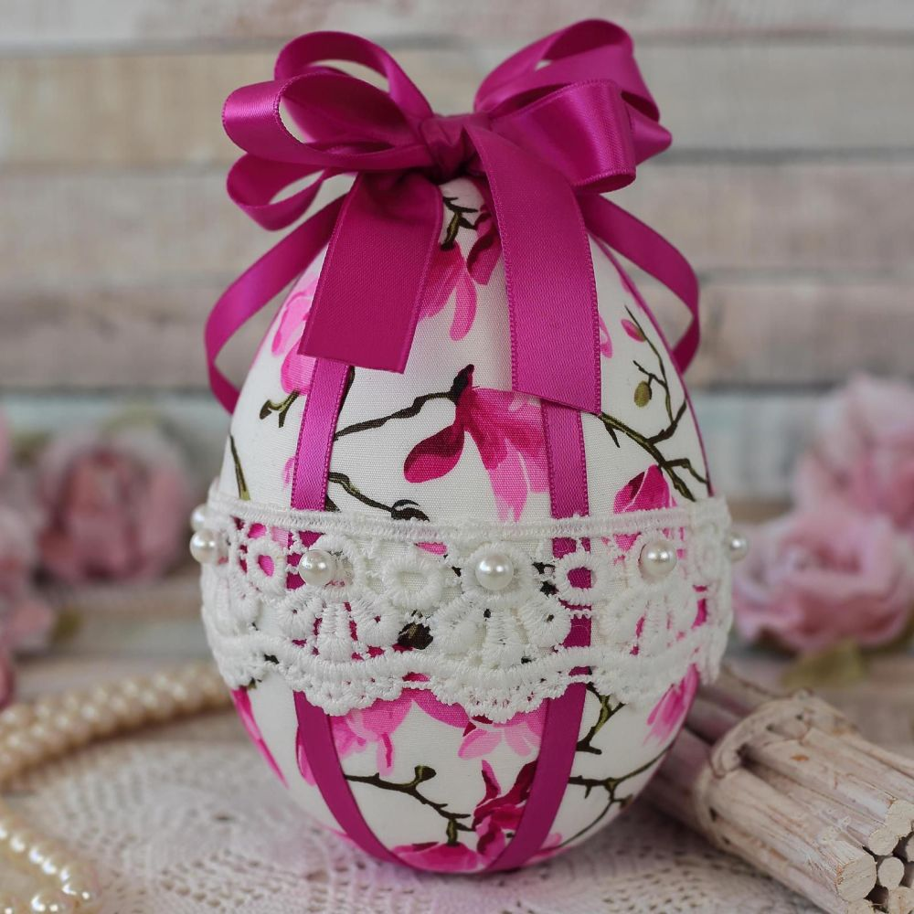 <!-- 014 -->Pink Fabric Easter Egg Gift