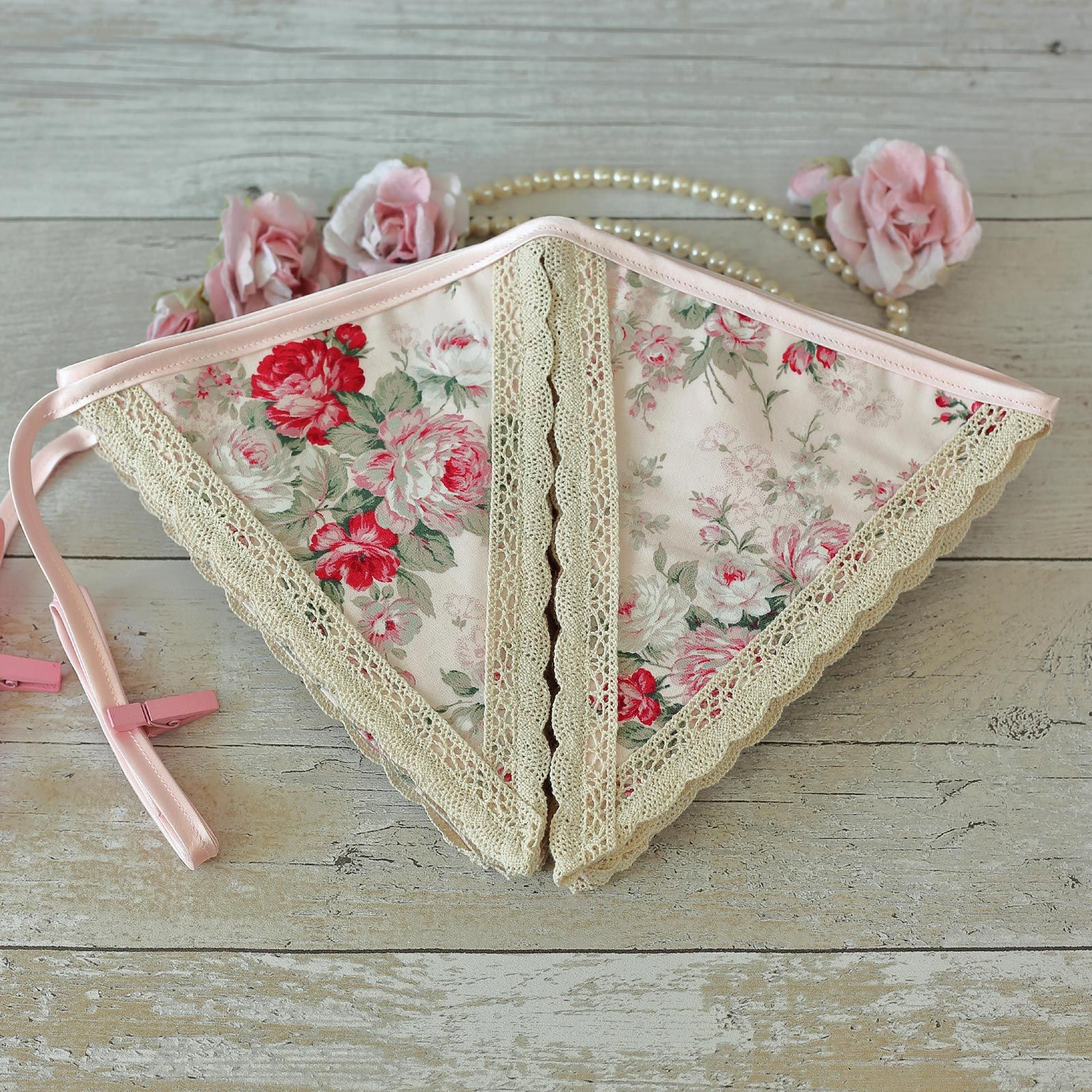 Vintage pink floral  fabric bunting