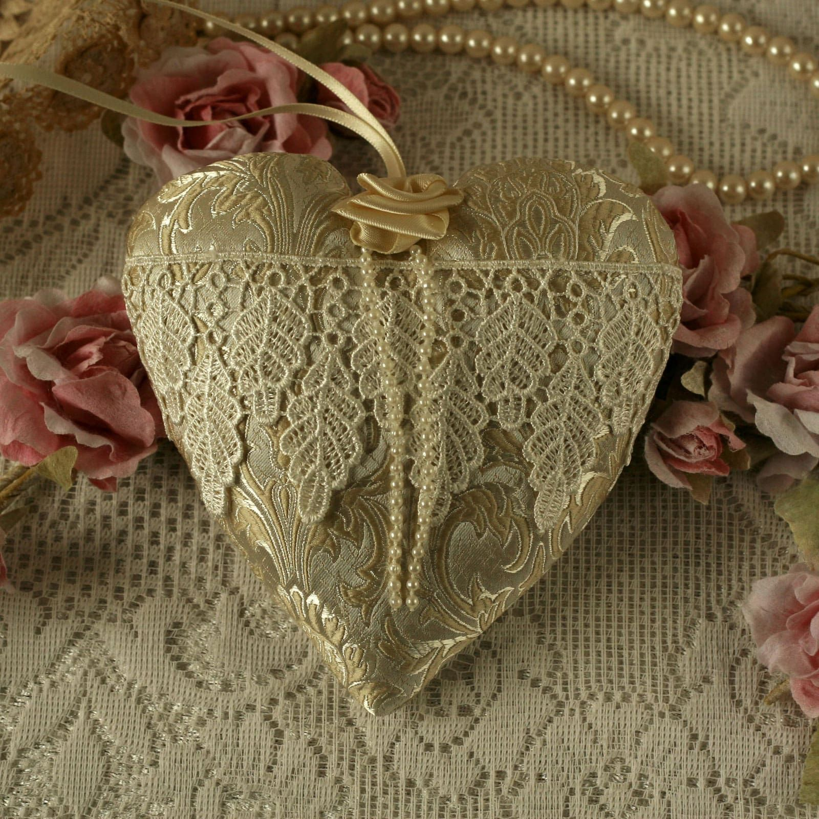 Vintage style fabric hanging heart