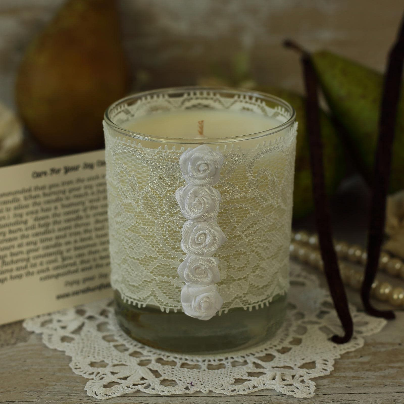 White Lace Candle Wedding Anniversary Candle Gift