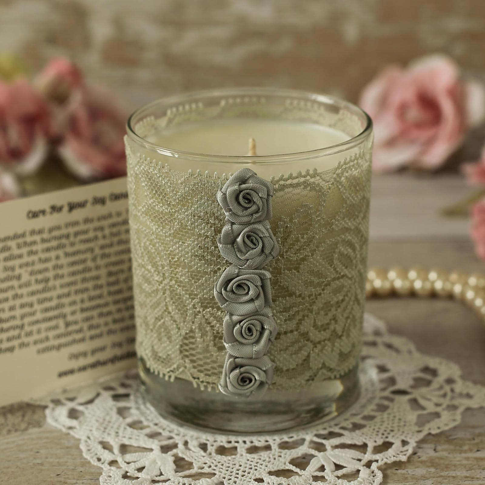 Silver Lace Candle 25th Anniversary Candle Gift