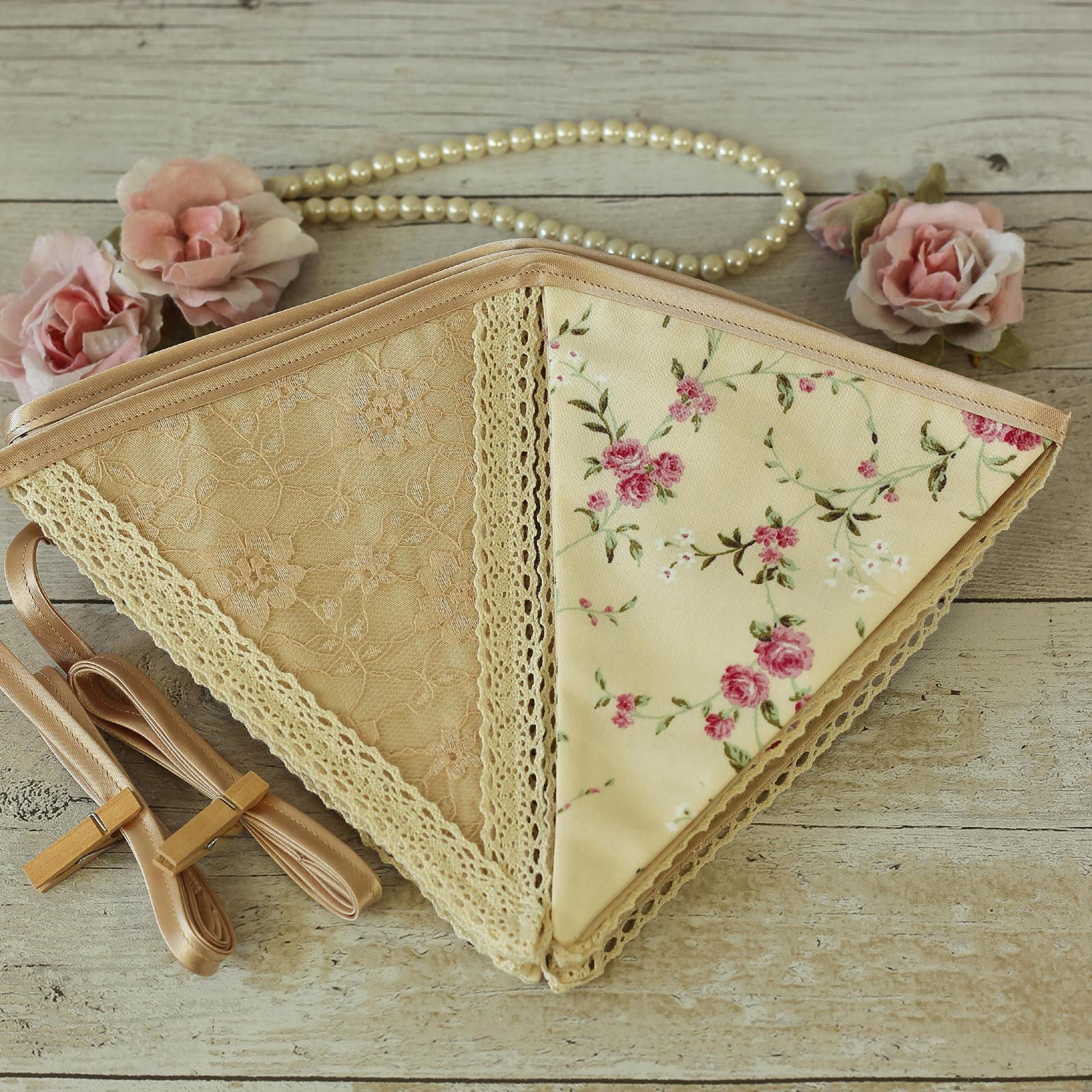 Shabby chic pink floral and lace fabric bunting