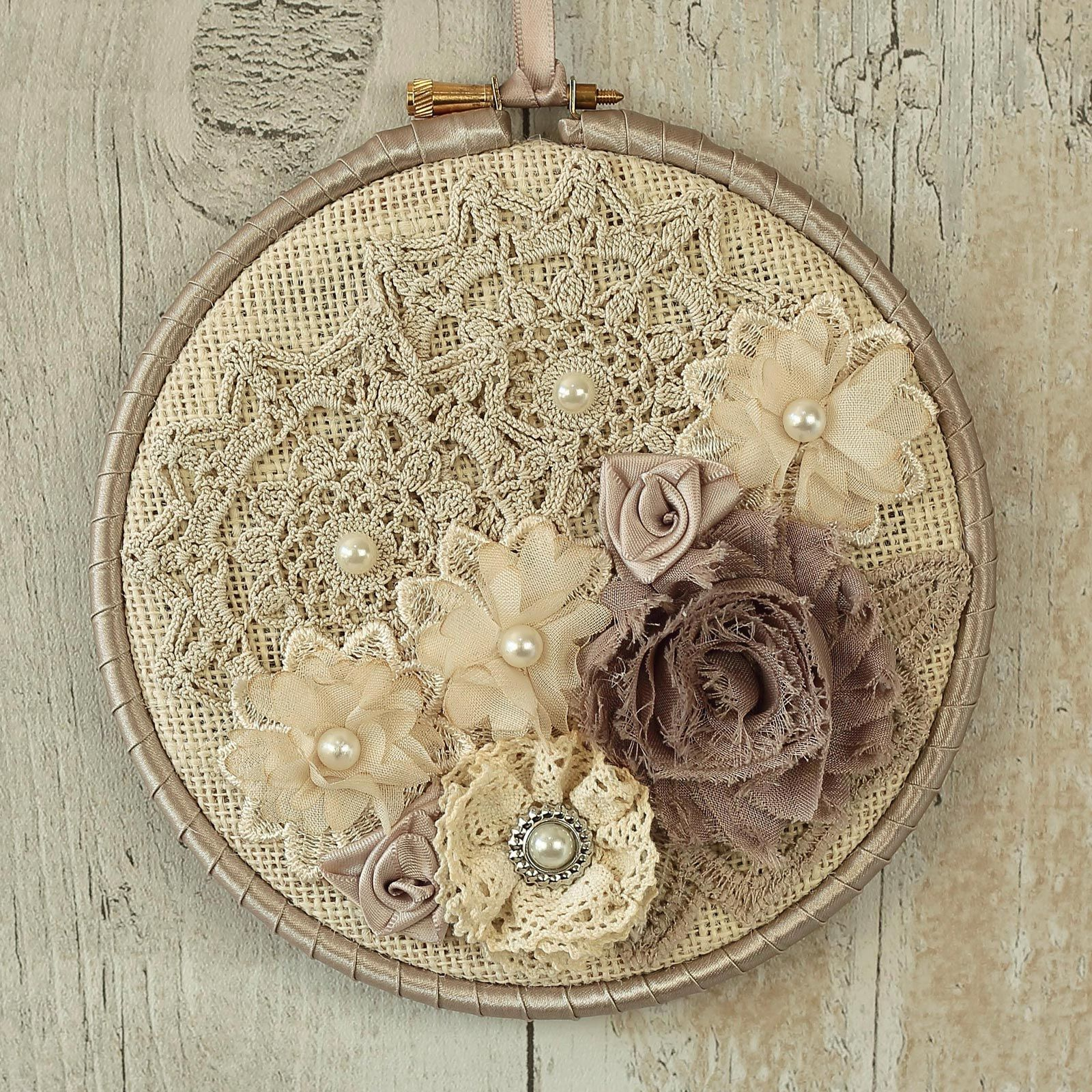 Rustic Wall Decoration Fabric Hanging Hoop