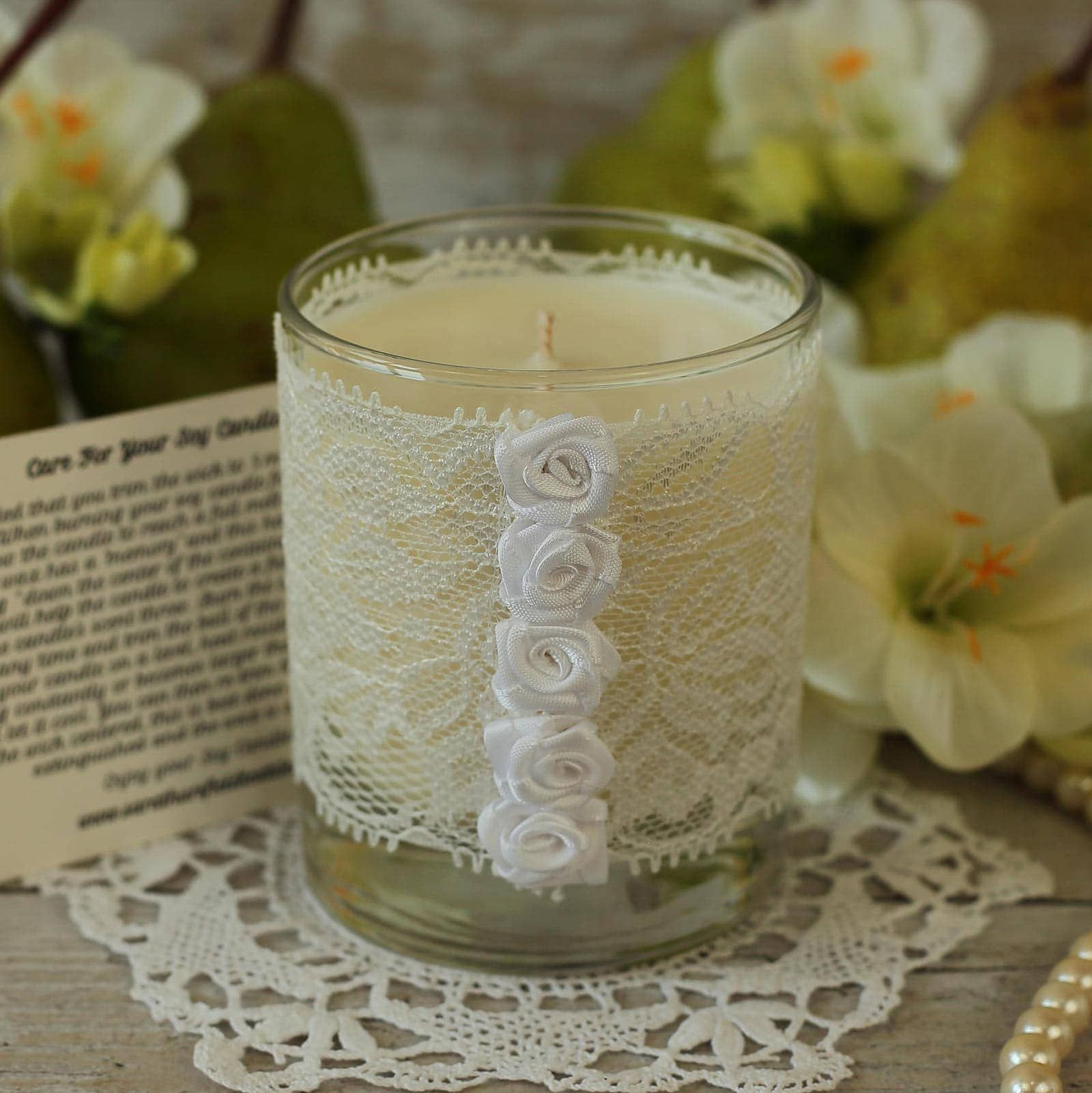 White Lace Candle Gift
