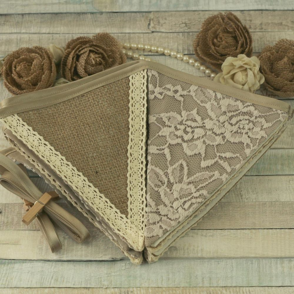 Barn Wedding Decorations: Hessian and Lace Bunting