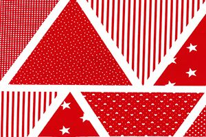 Rose & Hubble - Bunting Triangles in Red, per row of 7 triangles  ***Was £0.95***