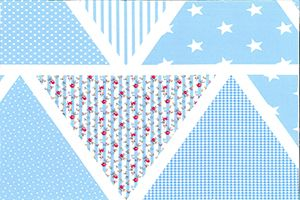 Rose & Hubble - Bunting Triangles in Pale Blue, per row of 7 triangles ***Was £0.95***