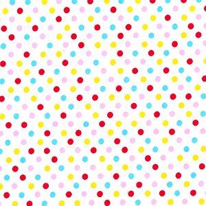 Rose & Hubble - Multicoloured Polka Dot On White, per fat quarter     ****WAS £1.15****