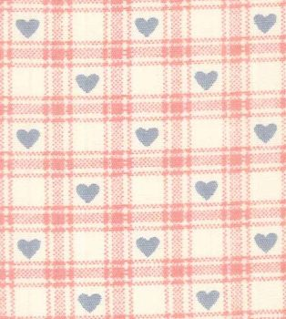 Rose & Hubble - Checkered Hearts in Pink, per fat quarter