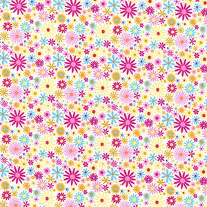 Rose & Hubble - Assorted Daisies in Candy, per fat quarter