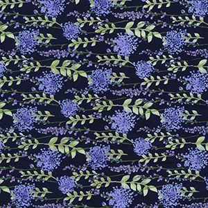 Rose & Hubble - Floral Spray in Navy, per fat quarter