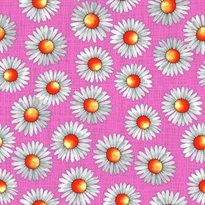 PVC Coated - Daisy Scatter in Pink, per quarter (50cm x 70cm) ***WAS £1.00***