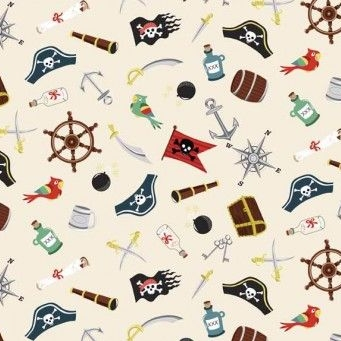 Makower UK - Pirates Icons, per fat quarter ***Was £2.50***