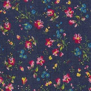 Printed Denim Chambray in Wild Flowers, per quarter (50cm x 70cm)