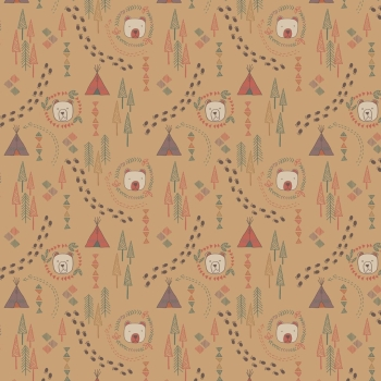 Lewis & Irene - Big Bear Little Bear - Wigwam On Biscuit, per fat quarter     ***WAS £2.75***