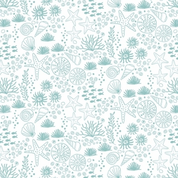 Lewis & Irene - Tales Of The Sea - Seabed On White, per fat quarter ***Was £2.70***
