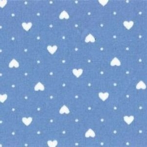 Rose & Hubble - Polka Dot Hearts in Blue, per fat quarter ***WAS £1.15***