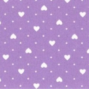 Rose & Hubble - Polka Dot Hearts in Lilac, per fat quarter ***WAS £1.15***