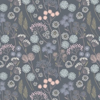 Lewis & Irene - Make Another Wish Hedgerow Flowers On Grey, per fat quarter  ***Was £2.70***