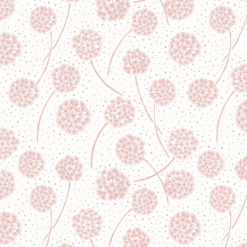 Lewis & Irene - Make Another Wish Pink Dandelions, per fat quarter  ***Was £2.70***