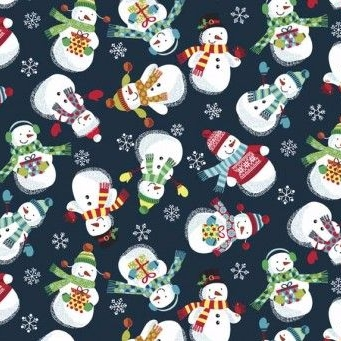 Makower UK - Frosty Snowman on Midnight, per fat quarter