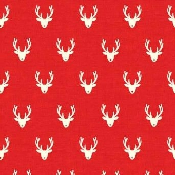 Makower UK - Scandi 3 Stags in Red, per fat quarter  ***Was £2.50***