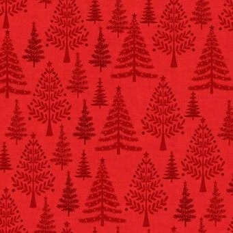 Makower UK - 2016 Scandi 3 Trees in Red, per fat quarter