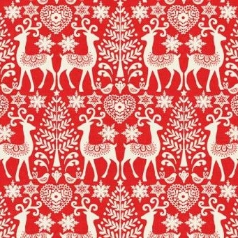 Makower UK - Scandi 3 Reindeer in Red, per fat quarter  ***Was £2.50***