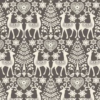Makower UK - 2016 Scandi 3 Reindeer in Grey, per fat quarter