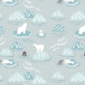 Lewis & Irene - Northern Lights - Walrus & Friends on Icy Grey (Metallic), per fat quarter  ***£2.70***