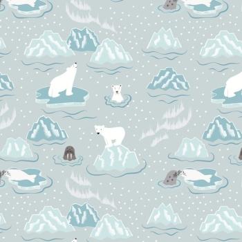 Lewis & Irene - Northern Lights - Walrus & Friends on Icy Grey (Metallic), per fat quarter  ***£2.70***
