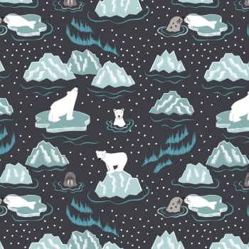 Lewis & Irene - Northern Lights - Walrus & Friends on Midnight (Metallic), per fat quarter  ***Was £2.70***