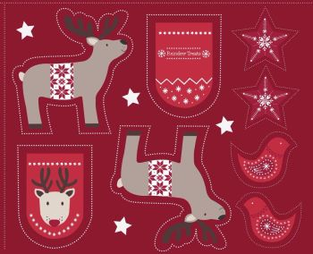 Lewis & Irene - When I Met Santas Reindeer - Cut Me Out Reindeer on Red, per panel   ***Was £2.50***