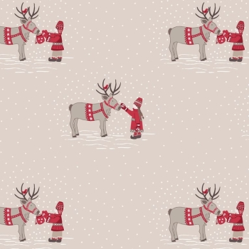 Lewis & Irene - When I Met Santas Reindeer - Meeting Santas Reindeer on Natural, per fat quarter