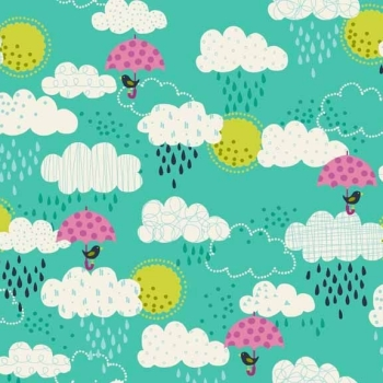 Makower UK - Windy Day Clouds in Turquoise, per fat quarter ***Was £2.50***