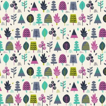 Makower UK - Windy Day Trees in Turquoise, per fat quarter ***Was £2.50***