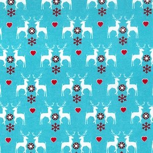 Reindeer & Hearts on Blue, per quarter (50cm x 67cm)  ***Was £1.40***